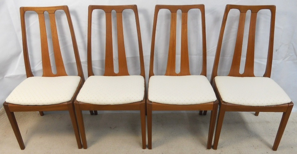 Set Of Four 1960 S Retro Teak Highback Dining Chairs By
